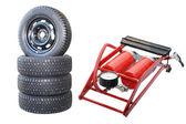 Car wheels and Pump — Stock Photo