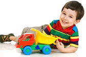 Little boy with toy car — Stockfoto