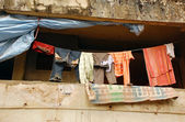 Clothes on the Rope in the Balcony — Stock Photo