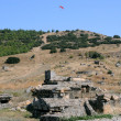 Paragliding Over Ruins of Hierapolis - Stock Photo