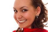 Ragazza felice in rosso — Foto Stock