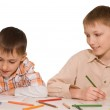 Brothers sit at the table and draw — Stock Photo #3208900