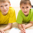 Two little brother lying — Stock Photo