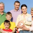 Large family in the park — Stock Photo