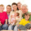 Portrait of a happy family of seven — Stock Photo