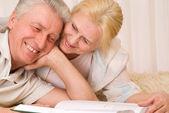 Spokojený úsměv starší pár — Stock fotografie