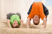 Children playing on the carpet — Stock Photo