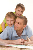Father and two young brothers — Stock Photo