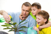 Father and children watering flower — Stock Photo