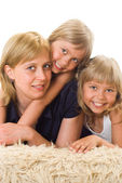 Mom is with daughters — Stock Photo