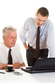 Two businessmen working together — Stock Photo