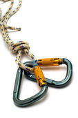 Isolated two alpinism carabiners — Stock Photo