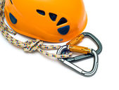 Isolated carabiners and orange helm — Stock Photo