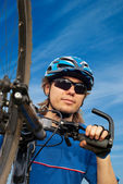 Portrait of a young bicyclist in helmet — Stock Photo