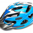 Blue bicycle helmet - Stock Photo