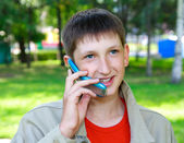 Boy with phone — Stock Photo