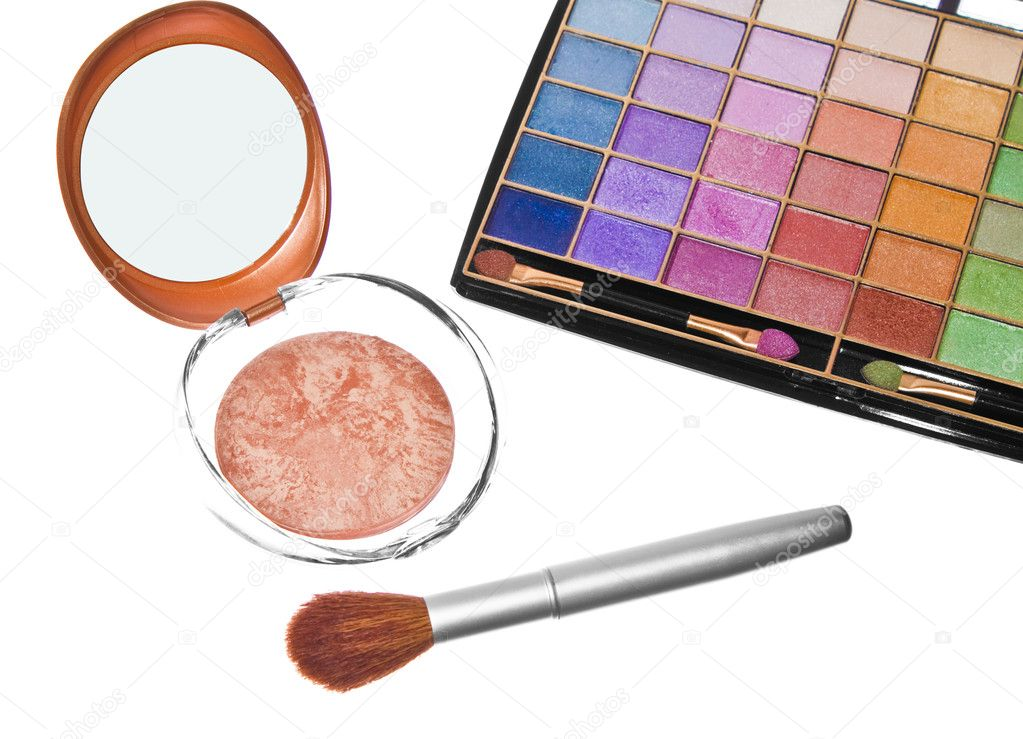 Eyeshadows, powder on professional make-up brush — Stock Photo #3823437