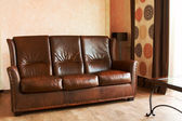 Leather sofa and table — Stock Photo