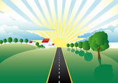 Landscape with a road through the meadows — Stock Vector