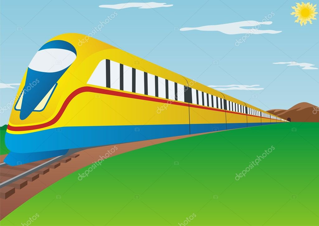 Train. Modern high-speed railway passenger transport. — Stock Photo #3854817