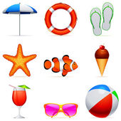 Summer vacation icons. — Stock Vector