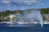 Yacht et arc-en-ciel — Photo