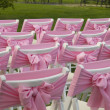 Stock Photo: Chairs with pink bows