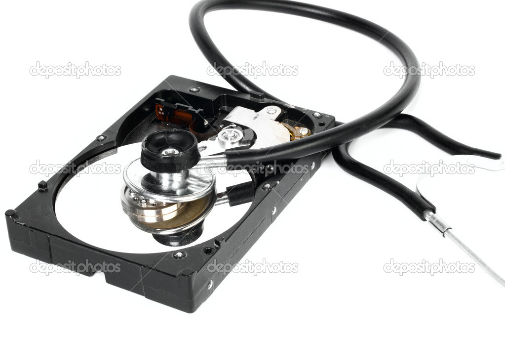 Hard disk with stethoscope isolated on white background  Stock Photo #3637033