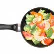 Stock Photo: Vegetables in frying pan