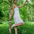 Foto Stock: Young slender womand birch