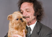 Man and the doggie — Stock Photo