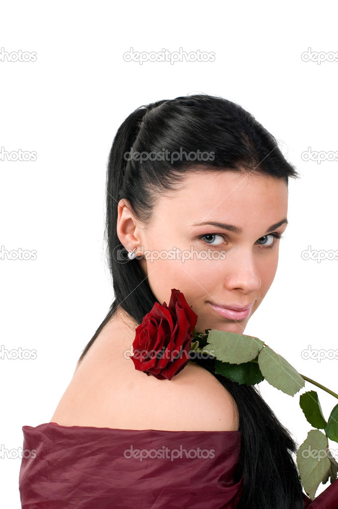Woman with a red rose in hands, it is isolated on a white background.  Stock Photo #3181624