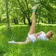 Gymnastics at the green grass — Stock Photo