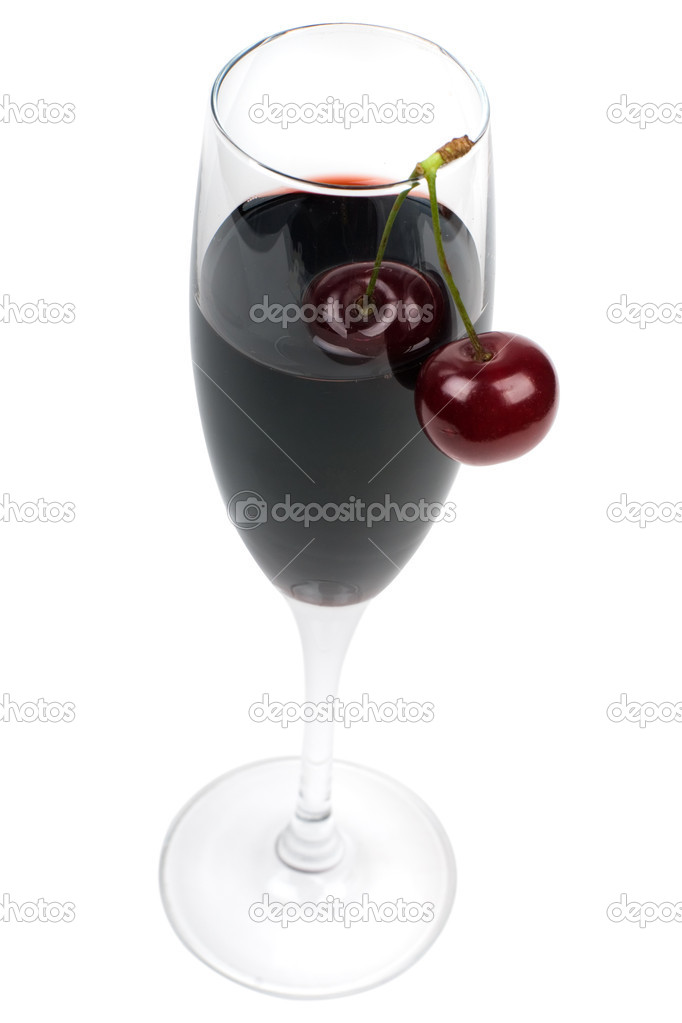 Glass of wine and fresh cherries it is isolated on a white background. — Stock Photo #3479083