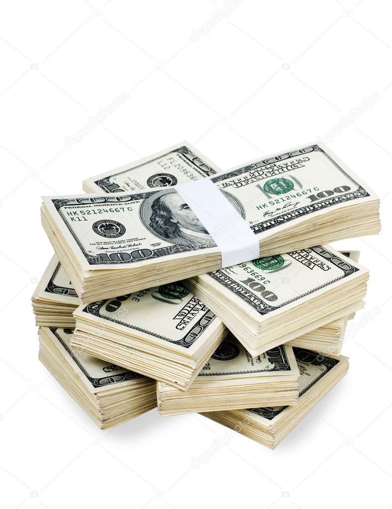Huge stack of prop money. Bundled in $10000 dollar stacks. Isolated on black. — Stock Photo #3881738