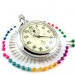 Scatter pins and Stop-watch — Stock Photo