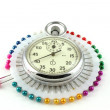 Stock Photo: Scatter pins and Stop-watch