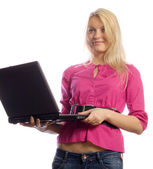Young businesslady with laptop — Stock Photo