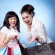 Attractive women with shopping bags — Stock Photo
