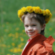 Boy in dandelion meadow. - Stock Photo