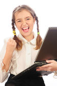 Schoolgirl exclaims about the success — Stock Photo