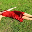 Girl enjoys solar heat - Stockfoto