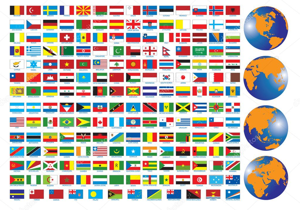 Flags of the countries. Vector illustration for you design — Stock Vector #2857843