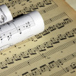 Sheets of musical symbols — Stock Photo