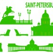 Saint petersburg skyline and symbols - Stok Vektör
