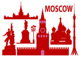 Moscow skyline and simbols — Stock Vector