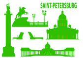 Saint petersburg skyline and symbols — Vector de stock