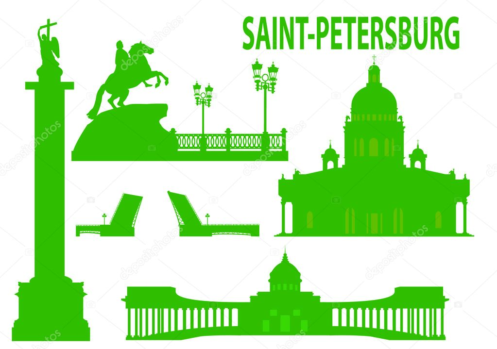 Saint petersburg skyline and symbols. Vector illustration  Stockvectorbeeld #3777664