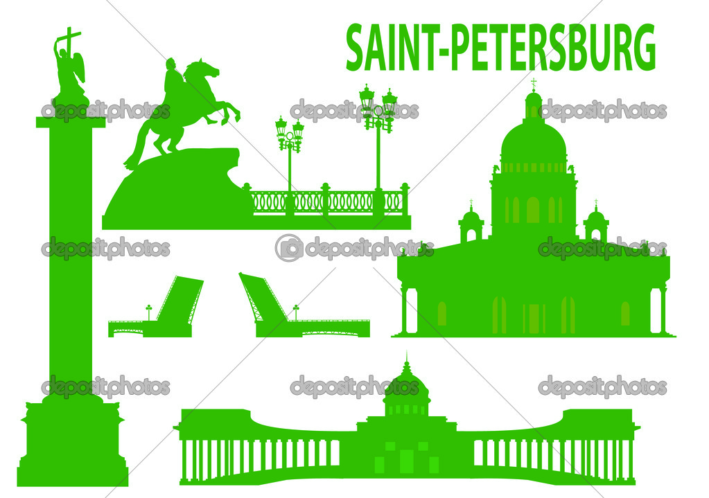 Saint petersburg skyline and symbols. Vector illustration — Imagen vectorial #3777664