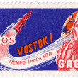CUBA - CIRCA 1963: A stamp printed in Cuba shows Gagarin and rocket Vostok 1, circa 1963 — Stock Photo